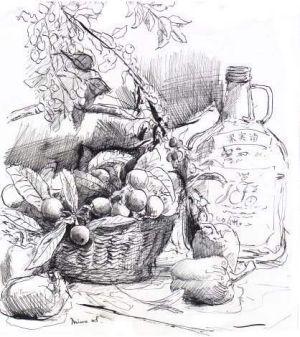 ビワとワイン(ペン画)