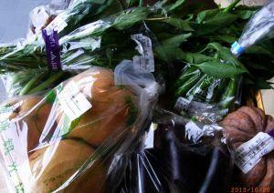 朝市の新鮮野菜