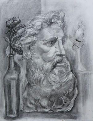 モーゼ石膏像(木炭)